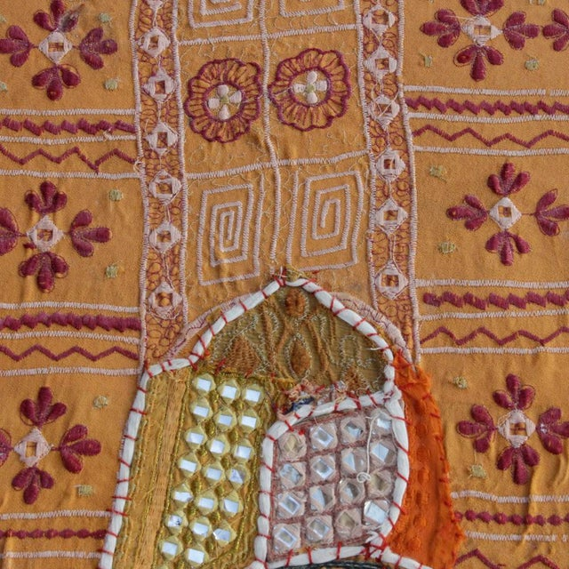 Vintage Hand-Sewn Tapestry Ottoman For Sale In Los Angeles - Image 6 of 6