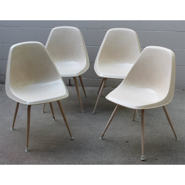 Mid-Century Cream Bucket Chairs - Set of 4 - Image 2 of 5