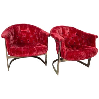 1970s Vintage John Stuart Tufted and Steel Lounge Chairs- a Pair For Sale