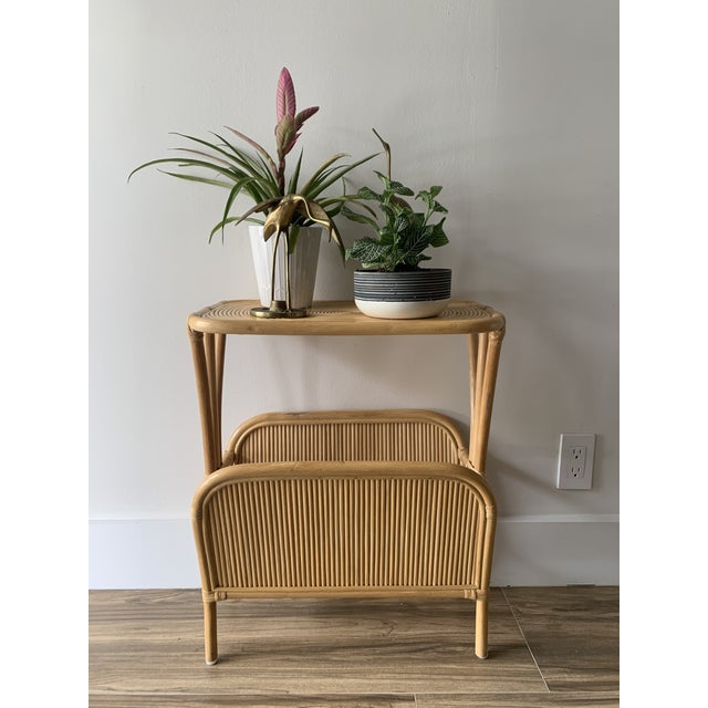 1970s Rattan Split Reed Magazine Rack Side Table For Sale - Image 4 of 12
