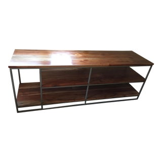 Industrial Crate & Barrel Wood and Wrought Iron Shelf and Media Center