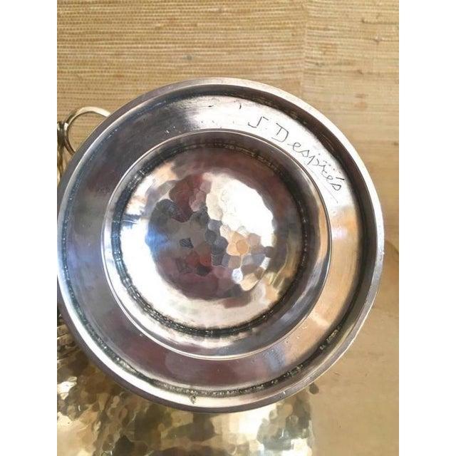 Contemporary Jean Despres Stamped Superb Big Tea Set in Hammered Silvered Tin For Sale - Image 3 of 6