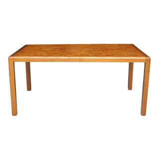 1960s Mid-Century Modern Oak and Walnut Burl Rectangular Dining Table For Sale