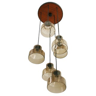 Danish Six Lamp Pendant For Sale