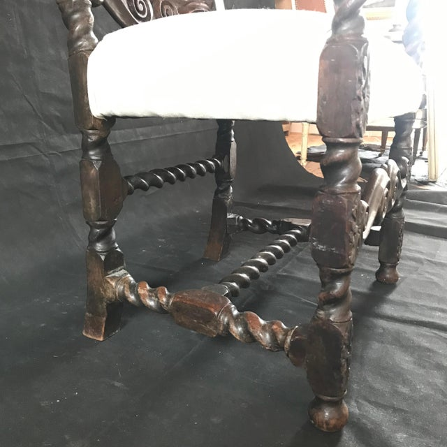 18th Century Vintage Carved Oak Jacobean Arm Chair For Sale - Image 4 of 10