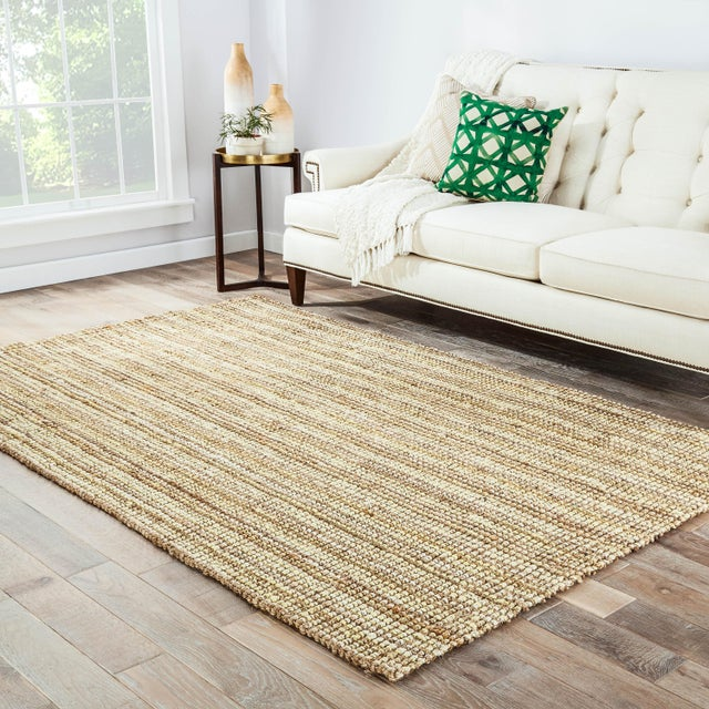2010s Jaipur Living Marvy Natural Solid Beige & White Area Rug - 10' X 14' For Sale - Image 5 of 6