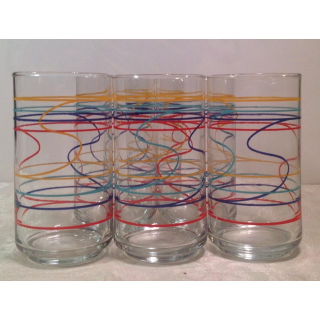 Mid-Century Modern Mid-Century Modern Multicolored Glasses - Set of 6 For Sale - Image 3 of 8