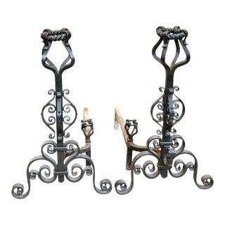 Heavy Wrought Iron Andirons - A Pair For Sale