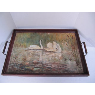 Acrylic Oil Painting of Swans Tray Preview