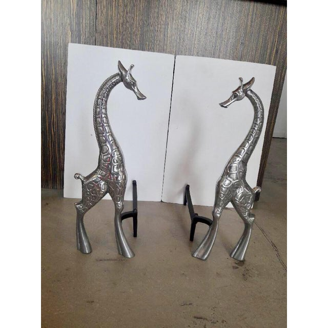 Mid-Century Modern Pair of Giraffe Andirons by Arthur Court For Sale - Image 3 of 11