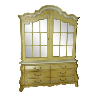 Drexel Heritage French Country Bombay Style China Display Cabinet For Sale