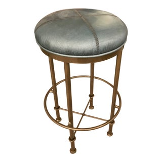 Rustic Green Leather Counter Stool For Sale