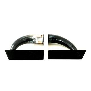 21st Century Contemporary Chrome Mounted Horn Bookend Sculptures - a Pair For Sale