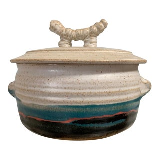 Stoneware Covered Casserole by Blue Eagle Pottery For Sale