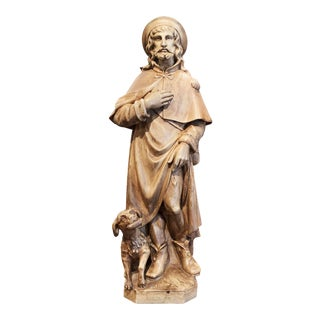 19th Century French Patinated Terracotta Sculpture of Saint Roch With Savior Dog For Sale