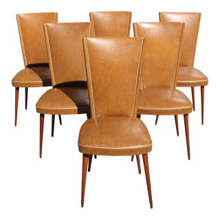 1940s Vintage French Art Deco Solid Mahogany Dining Chairs- Set of 6 For Sale