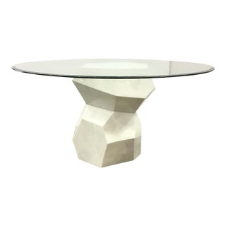 Drexel Heritage Geometric White Marble Dining Table With Glass Top For Sale