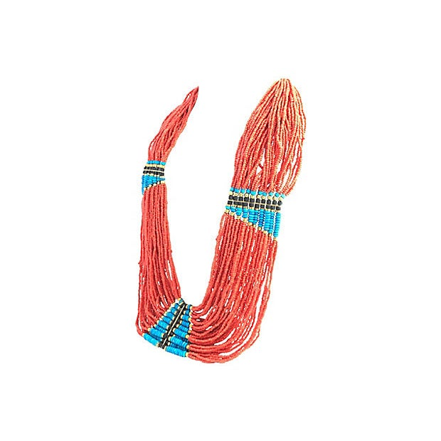 Late 20th Century Multi-Strand Costume Coral Turquoise and Wood Beaded Necklace For Sale - Image 5 of 7