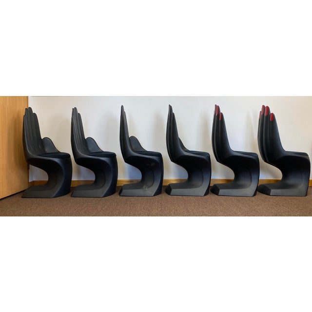 1990s 1990s Vintage European Touch Black Hand Chairs - Set of 6 For Sale - Image 5 of 12