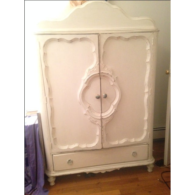 White Antique Shabby Chic Armoire - Image 2 of 5