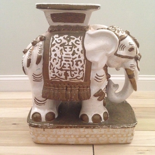 Vintage Ceramic Elephant Garden Stool - Image 7 of 7