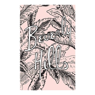 """Beverly Hills Pink Palm Illustration"" Original Framed Illustration For Sale"