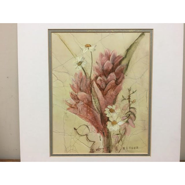 "A pair of lovely floral prints; ""ginger"" and ""protea"". Mat dimensions are 13"" x 15"". Mat openings are 7.75"" x 9.75""."