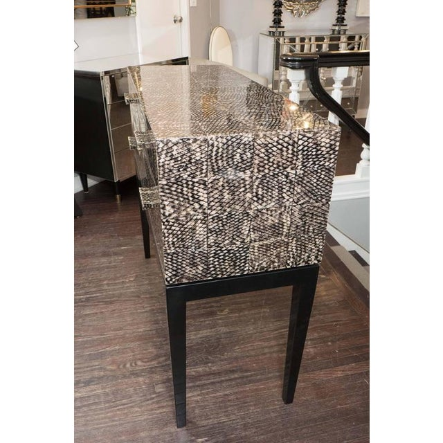 Golden Fish Skin Veneer Console Table For Sale In New York - Image 6 of 9