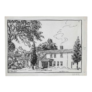 Architectural Drawing by Maine Artist Eleanore Stevens 1930s For Sale