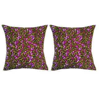 Purple African Print Fabric Pillow Covers -A Pair