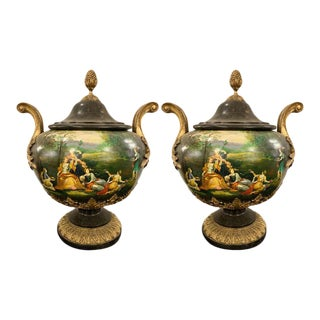 Pair of Painted Lidded Urns With Bronze Mounts For Sale