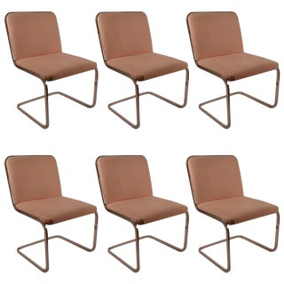 Set of Six Cantilevered Chrome Dining Chairs by Brueton For Sale
