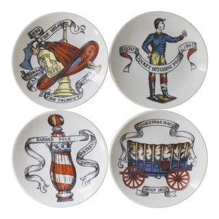 4 Piero Fornasetti Style Coasters Dishes American Antiques Americana Mid Century