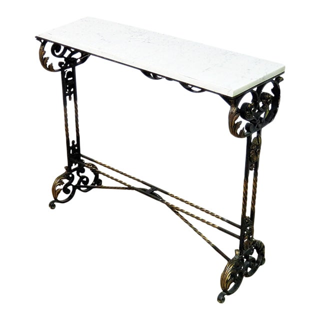 Wrought Iron Marble Top Console For Sale