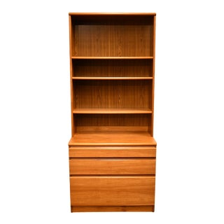 Vintage House of Denmark Danish Contemporary Modern Teak Wood Chest with Bookcase For Sale