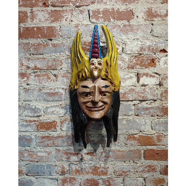 "Mexican Mask -Antique painted Wood Carved size 12 x 6 x 21"" A beautiful piece that will add to your décor!"