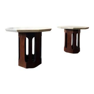 1950s Mid Century Modern Harvey Probber Octagonal Dark Walnut & Terrazzo Tables - a Pair For Sale