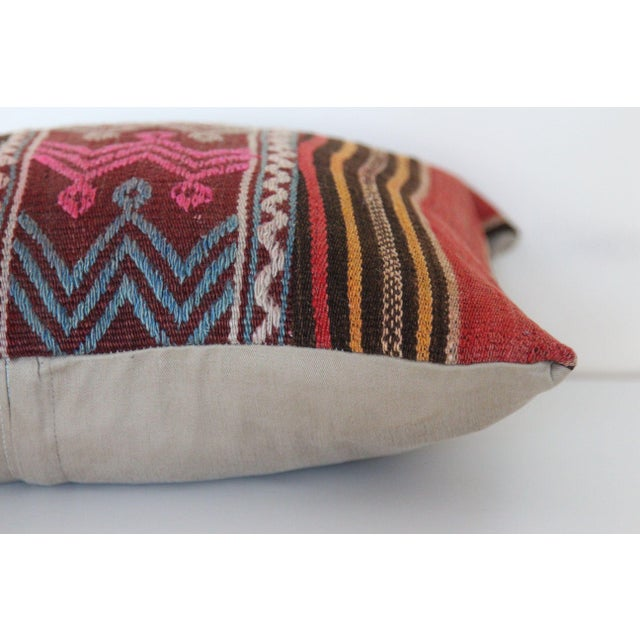 Boho Chic Turkish Wool Kilim Pillowcase For Sale - Image 3 of 6