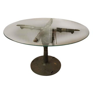 Repurposed Glass Top Industrial Machine Table For Sale