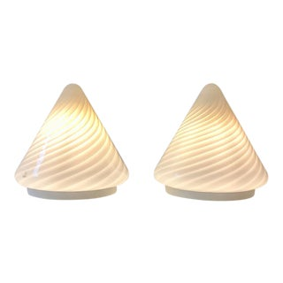 Pair of Murano Vetri Glass Cone Lamps For Sale