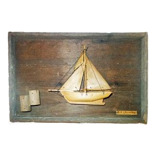 Vintage Hand-Carved Folk ArtSailboat Diorama For Sale