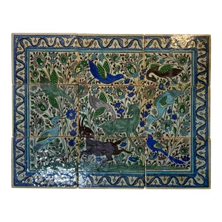 Vintage Persian Tiles - Set of 9 For Sale