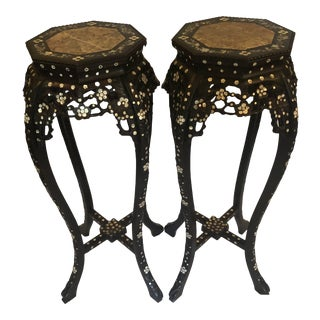 19th Century Mother of Pearl Plant Stand - a Pair For Sale