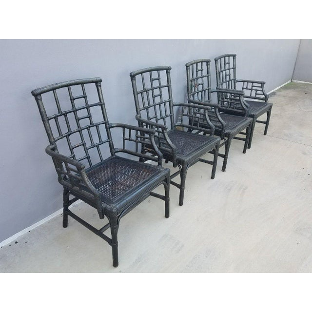 1970s Chinese Chippendale Baker Milling Road Rattan Arm Chairs - Set of 4 For Sale - Image 5 of 12