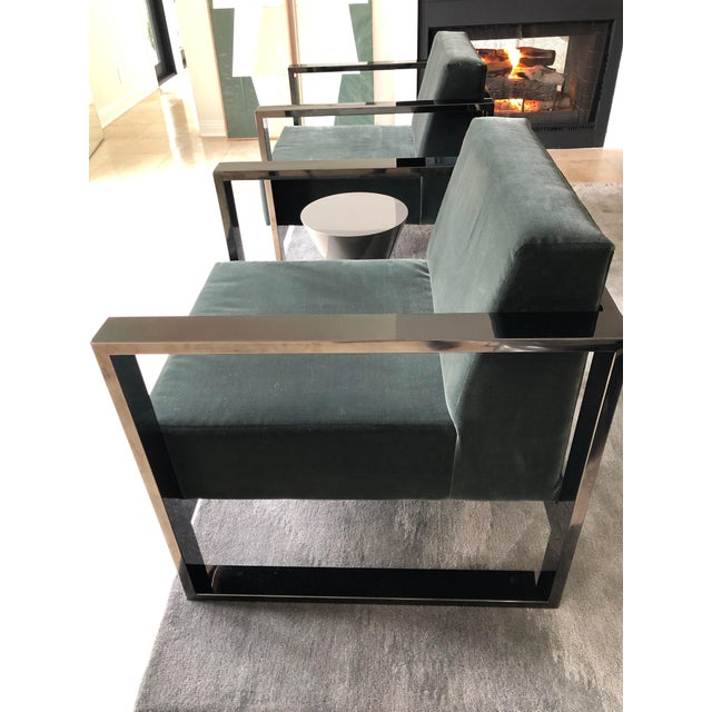 Contemporary Mid Century Modern Cube Chrome Lounge Chairs - a Pair For Sale - Image 3 of 8