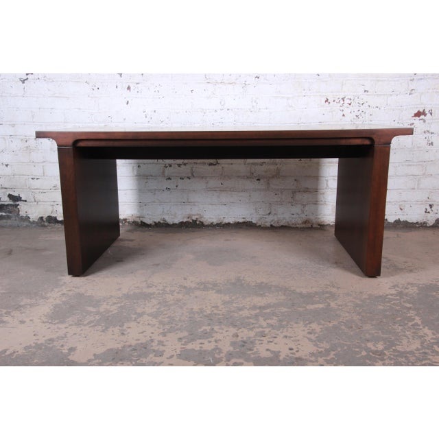 Baker Furniture Mahogany and Burl Wood Executive Desk, Newly Restored For Sale - Image 11 of 13