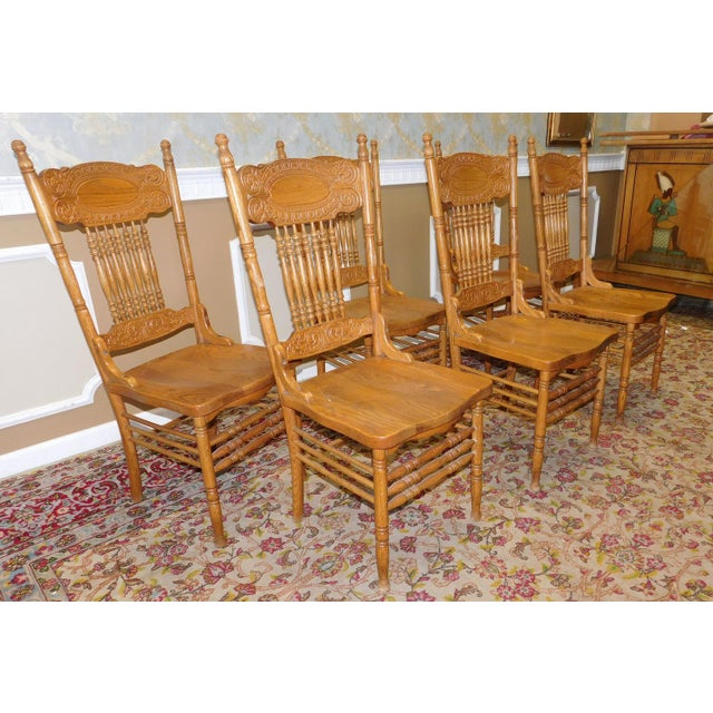 1990s Pressed Back Oak Spindle Kitchen Dining Room Chairs - Set of 6 ...