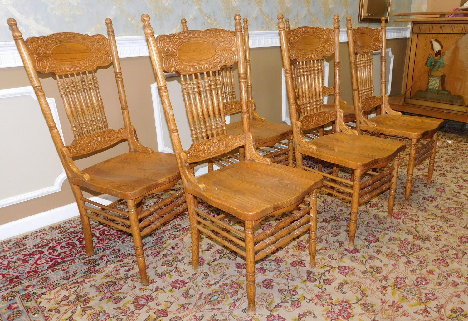 1990s Pressed Back Oak Spindle Kitchen Dining Room Chairs   Set Of 6    Image 4