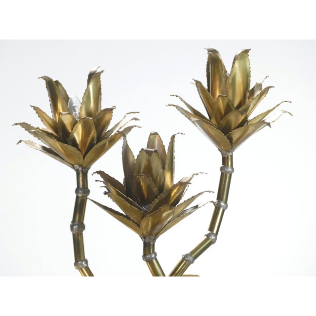 Brass 1970s Maison Jansen Hollywood Regency Brass Flower Lamps - a Pair For Sale - Image 8 of 9