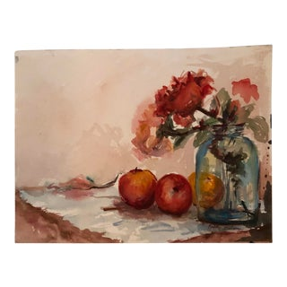 Vantage Original Still Life Watercolor Painting Signed 1980's For Sale